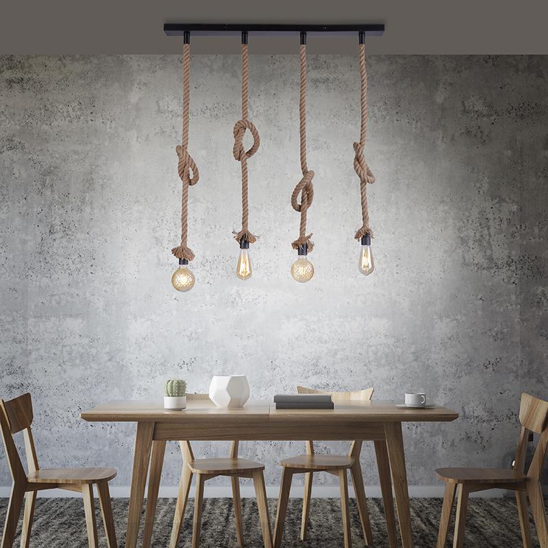 Landelijke hanglamp zwart met touw 4-lichts - Ropa