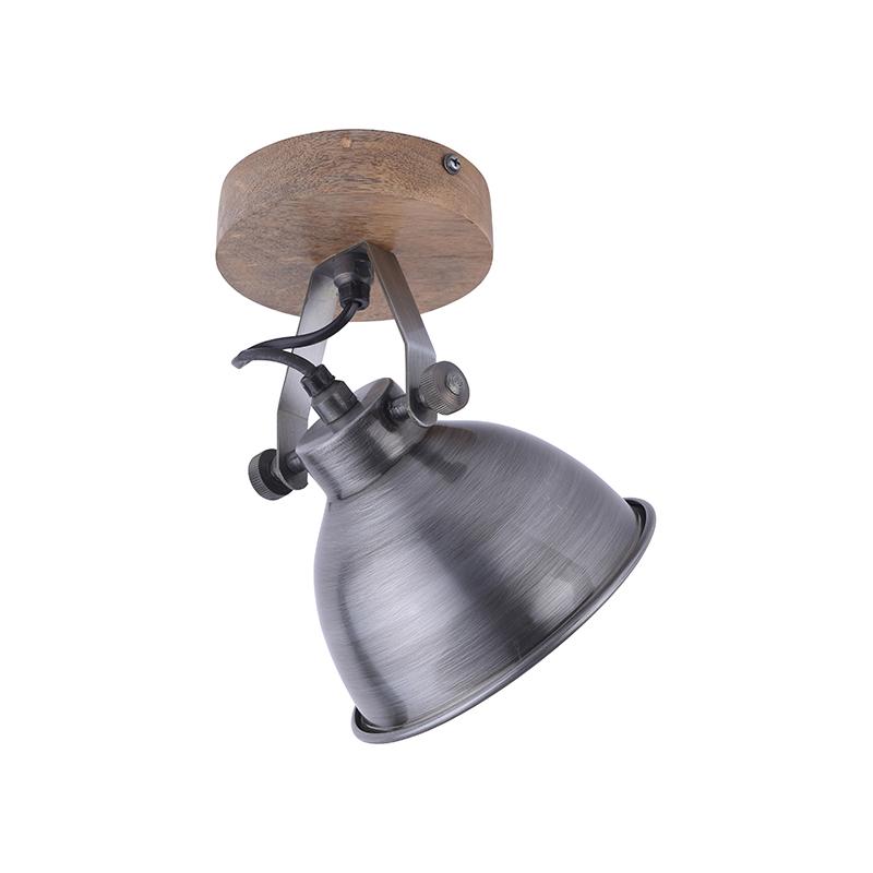 Industrialna lampa sufitowa stal z drewnem - Samia