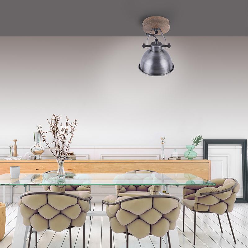Industriële plafondlamp grijs met hout - Samia