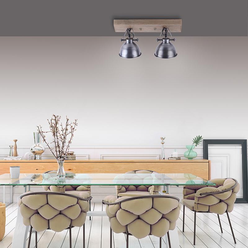 Industri�le plafondlamp grijs met hout 2-lichts - Samia
