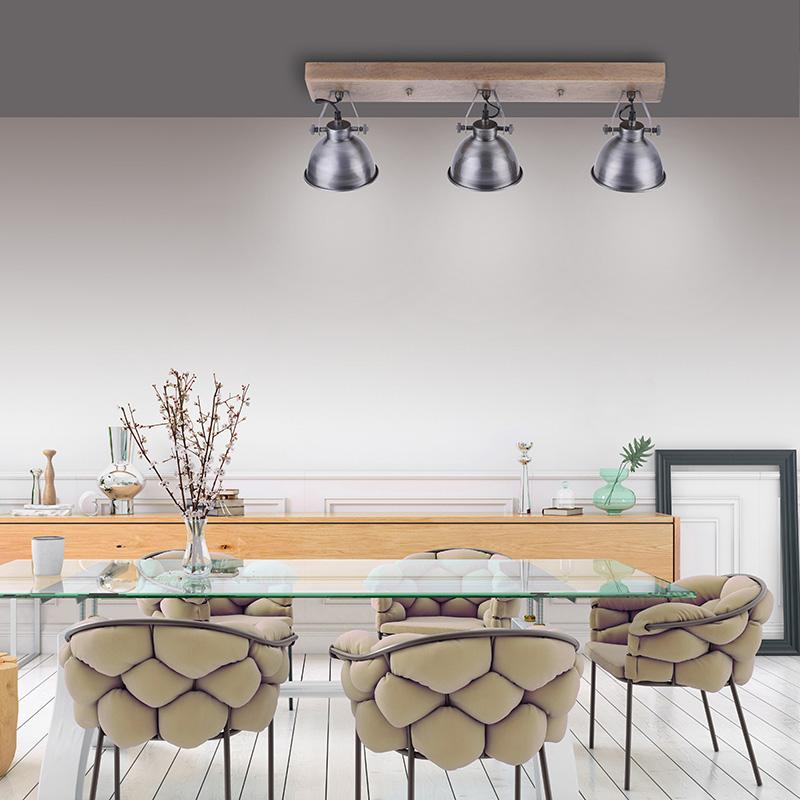 Industriële plafondlamp staal met hout 3-lichts - Samia