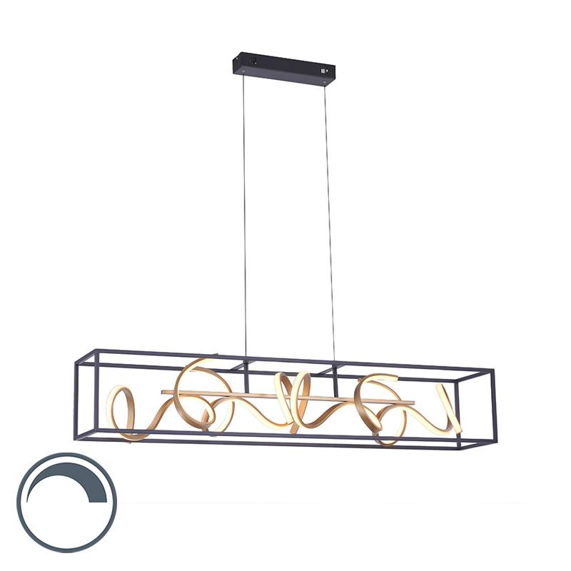 Design hanglamp zwart met goud dimbaar incl. LED - Krisscross