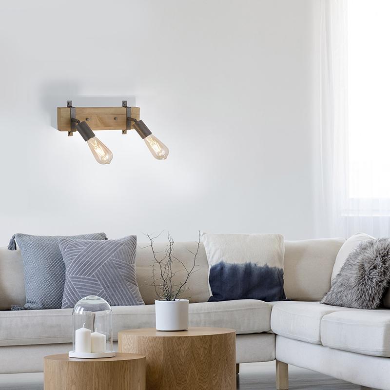 Industri�le spot grijs met hout verstelbaar 2-lichts - Maris