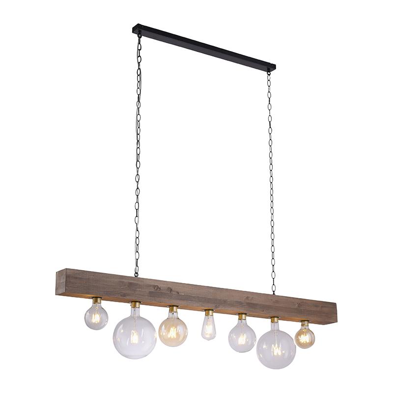 Industriële hanglamp zwart met hout - Rodu