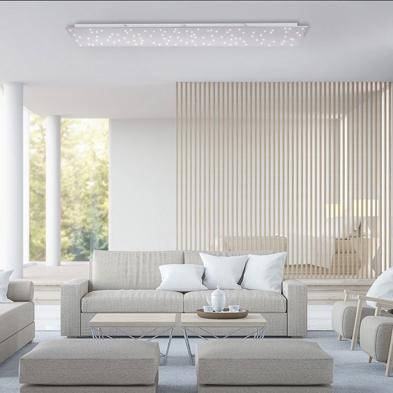 Design plafonnière wit met ster effect 100 cm incl. LED - Lucci