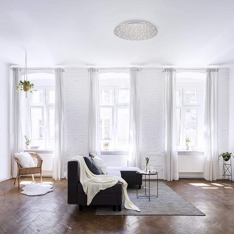 Design plafonnière wit met ster effect rond incl. LED - Lucci