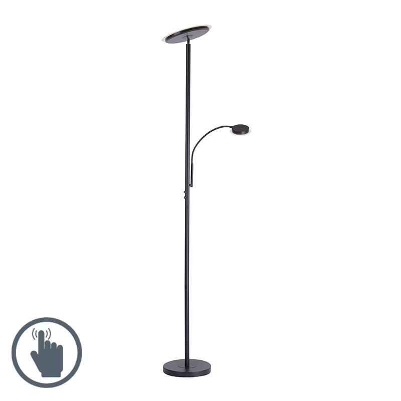 Design vloerlamp zwart met leesarm incl. LED - Hanz