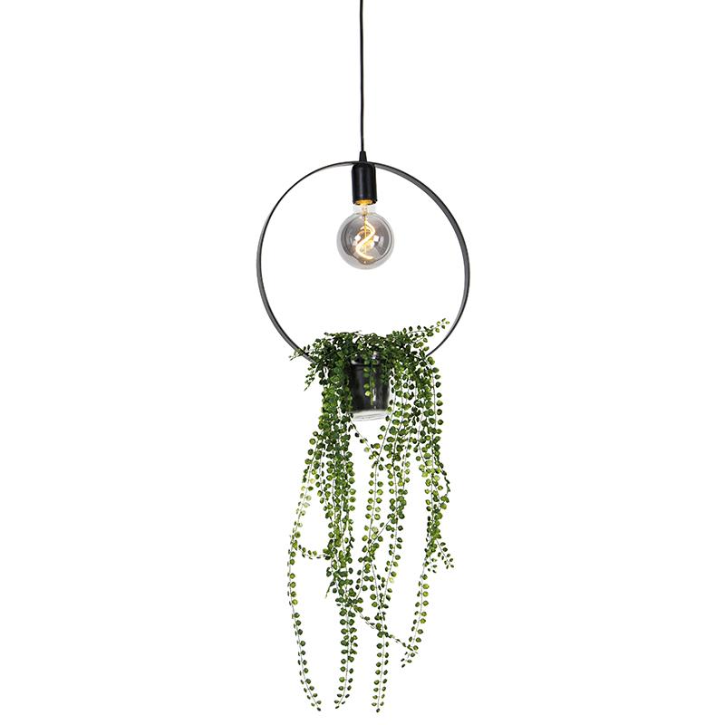 Moderne hanglamp zwart 11,5 cm - Roslina