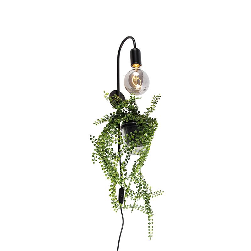 Moderne wandlamp zwart incl. snoer met stekker - Roslina