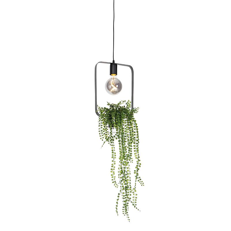 Moderne hanglamp zwart 24 cm - Roslina