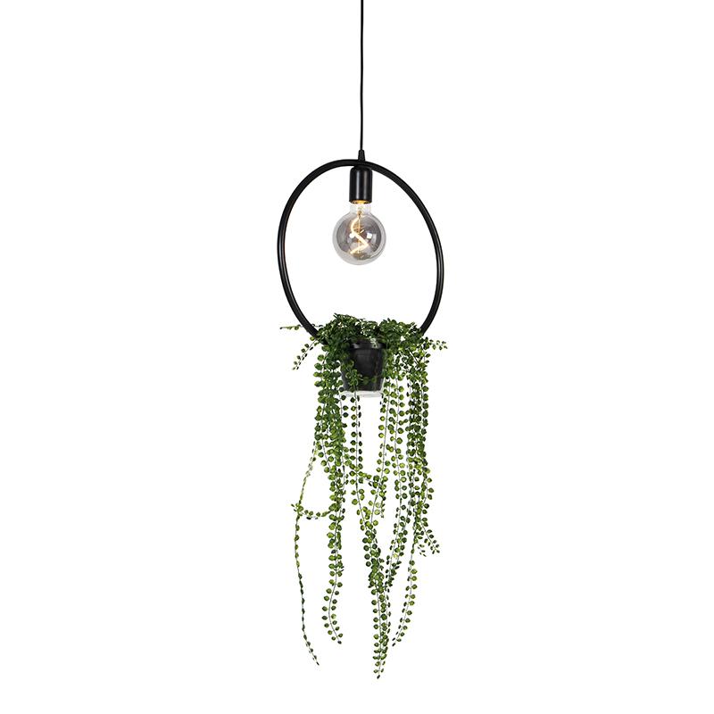 Moderne hanglamp zwart 12 cm - Roslina