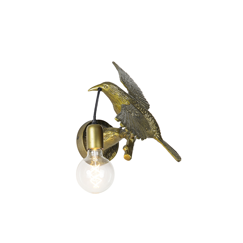 Vintage wandlamp messing - Fugl