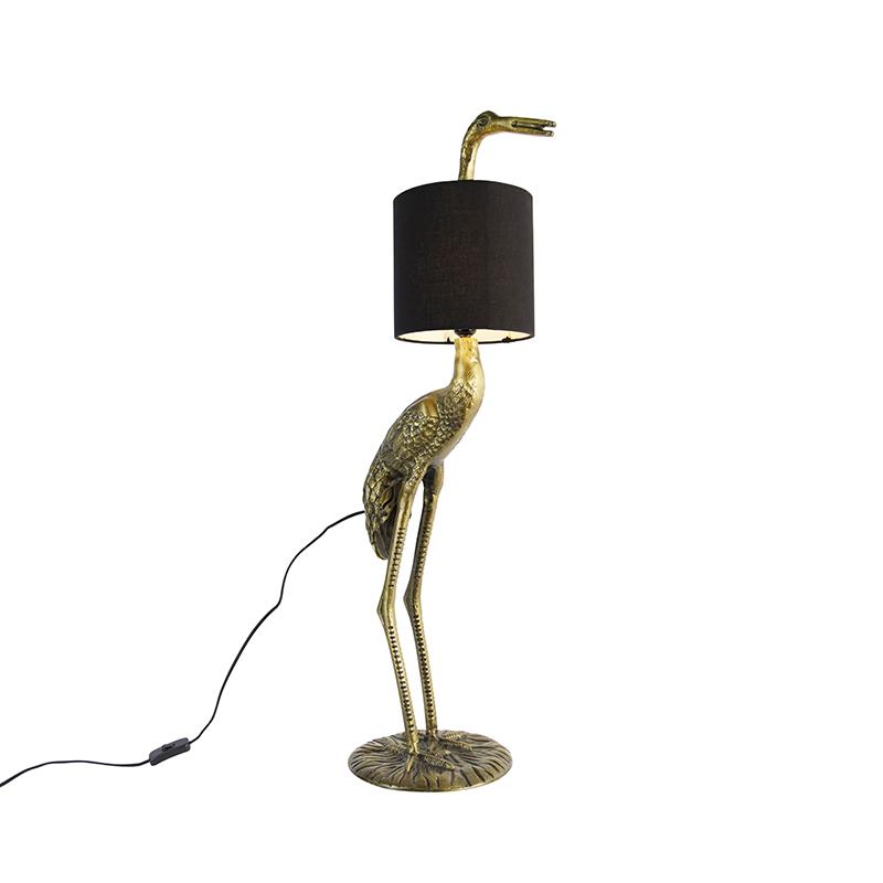 Vintage vloerlamp messing stoffen kap zwart - Kraanvogel To