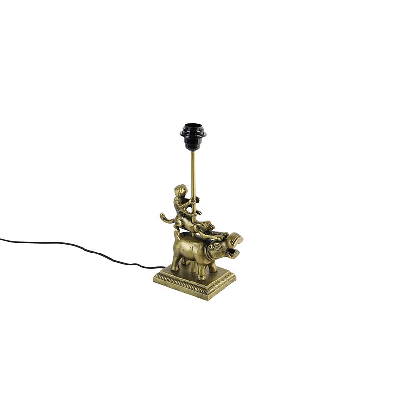 Vintage tafellamp messing zonder kap - Animal Flodhest Abe