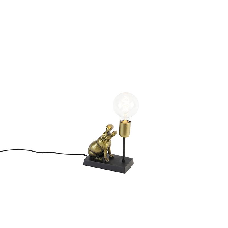 Vintage tafellamp messing - Animal Flodhest