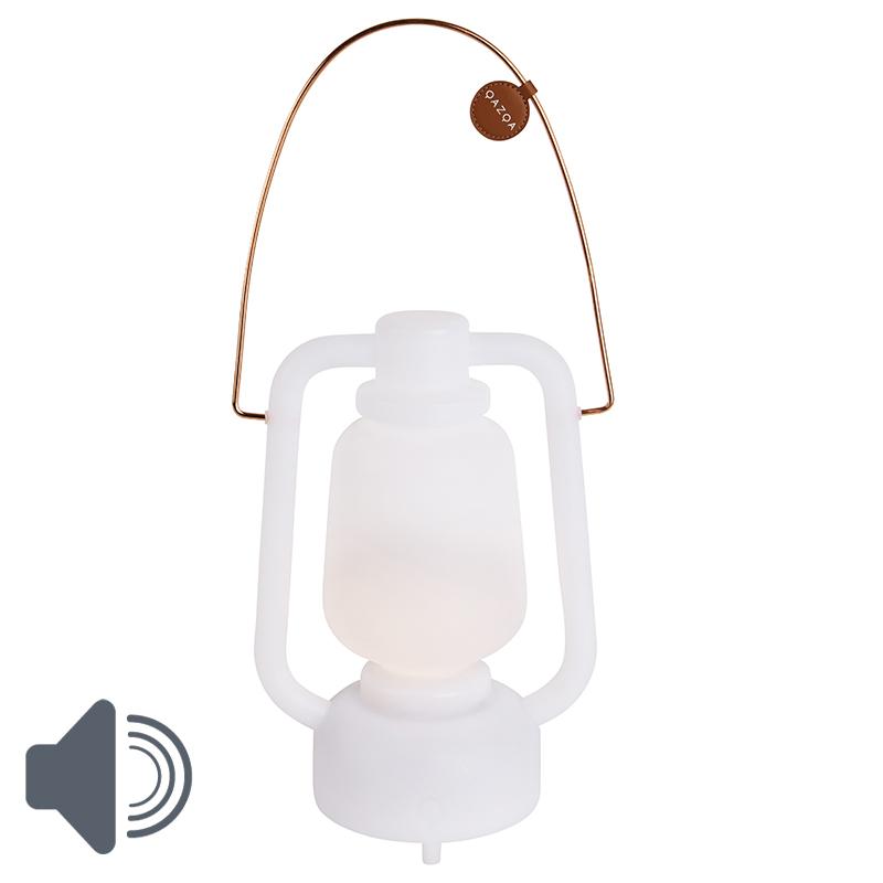 Tafellamp wit met speaker en oplaadbaar IP44 - Storm Music
