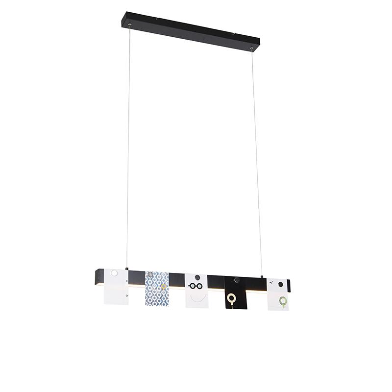 Moderne hanglamp zwart incl. LED 3-staps dimbaar - U-Tube
