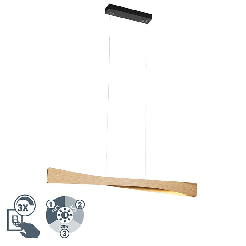 Landelijk hanglamp hout incl. LED 4-staps dimbaar - Sjaak