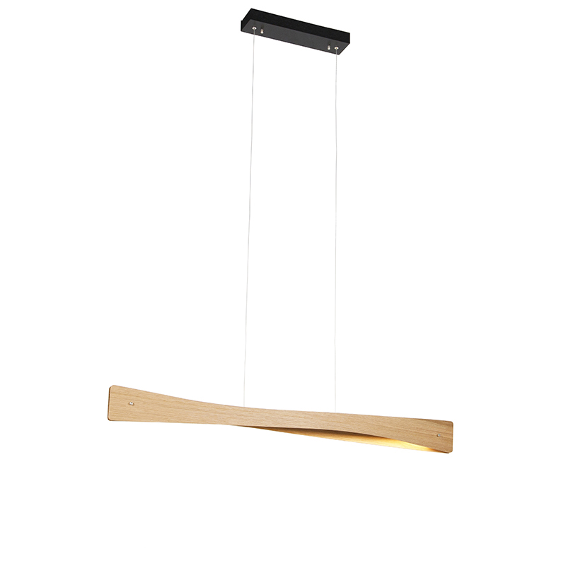 Landelijke hanglamp eik incl. LED 3-staps dimbaar - Sjaak