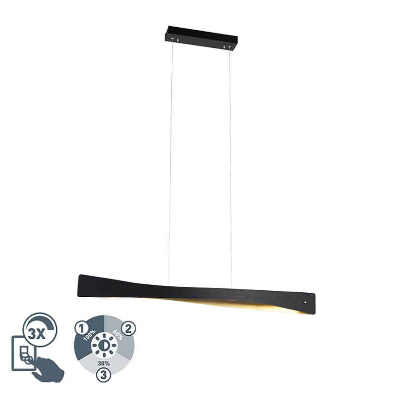 Hanglamp zwart met goud 105 cm incl. LED 3-staps dimbaar - Sjaak