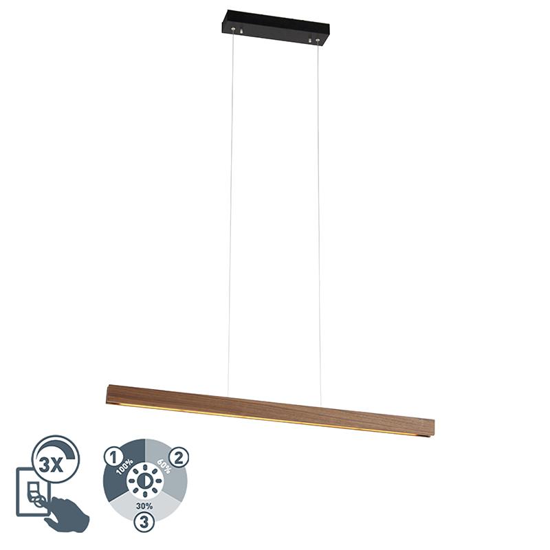 Moderne hanglamp bruin incl. LED 4-staps dimbaar - Holz