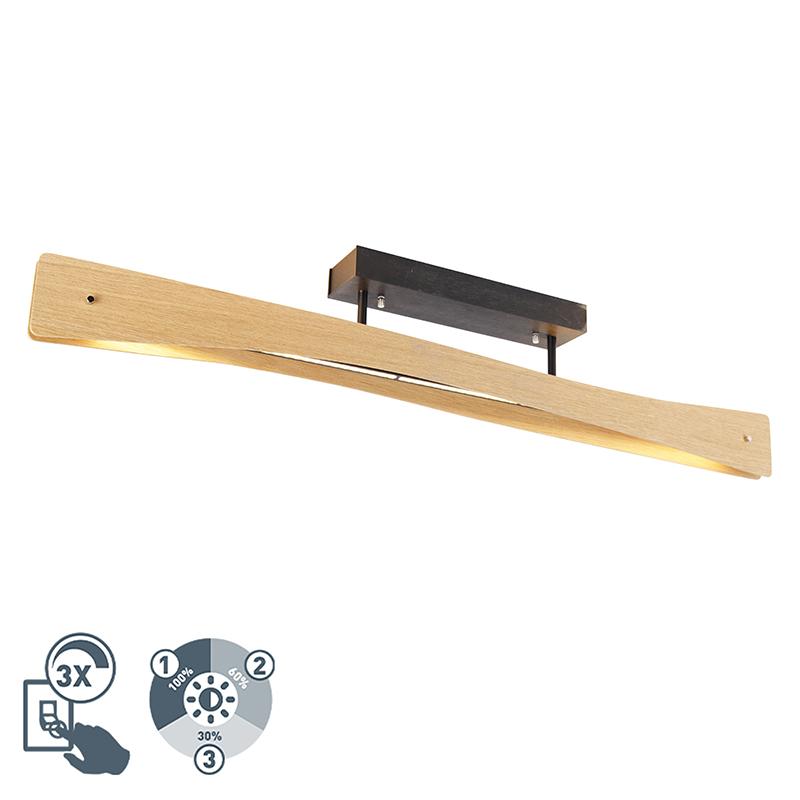 Vidiecke stropné svietidlo drevené vrátane LED 3-stupňového stmievateľného - Sjaak