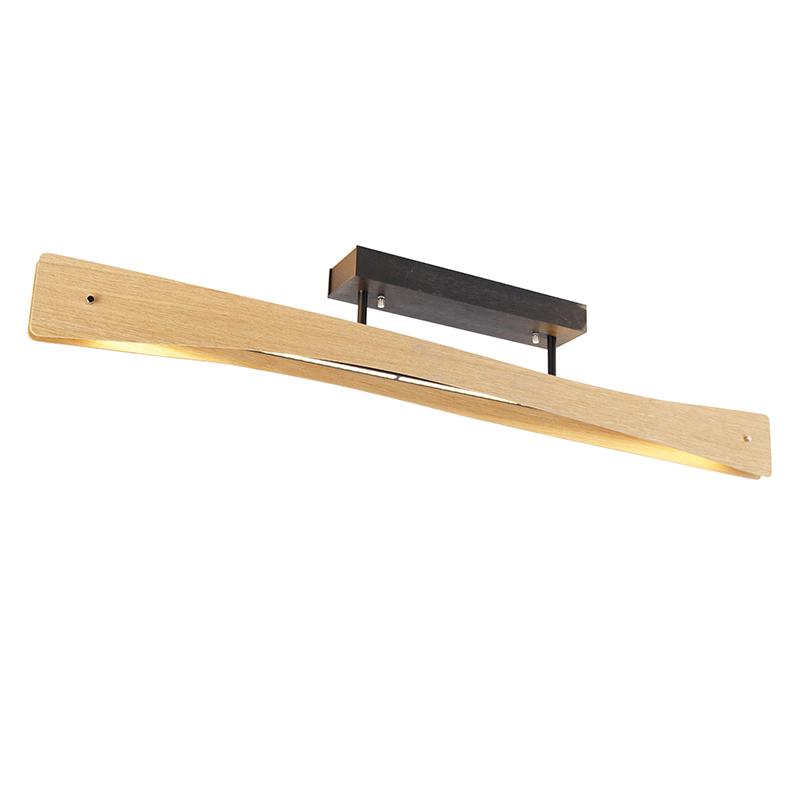 Landelijke plafondlamp eik 105 cm incl. LED 3-staps dimbaar - Sjaak