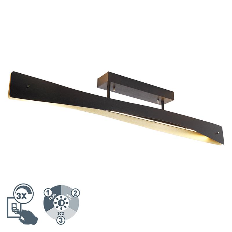 Plafondlamp zwart incl. LED 4-staps dimbaar - Sjaak