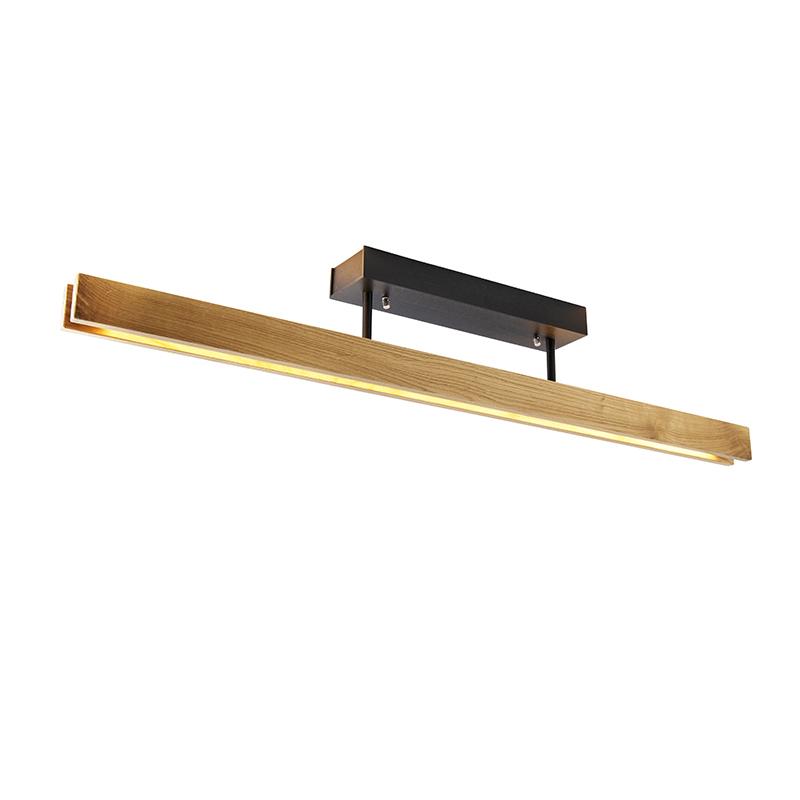 Landelijke plafondlamp eik 98 cm incl. LED 3-staps dimbaar - Holz