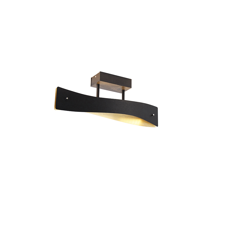 Moderne plafondlamp zwart met goud 45 cm incl. LED - Sjaak