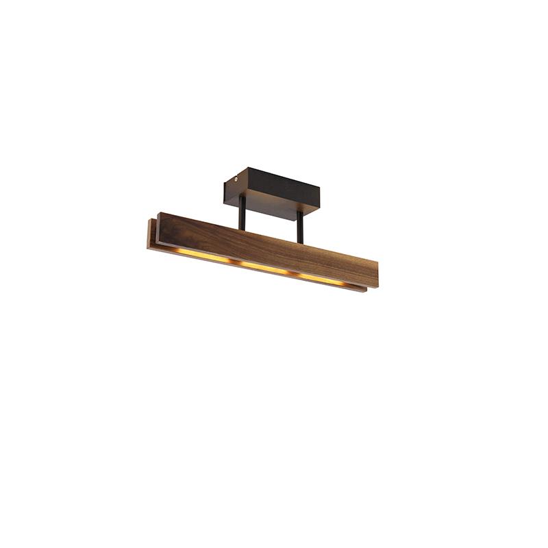 Landelijke plafondlamp noten hout 44 cm incl. LED - Holz