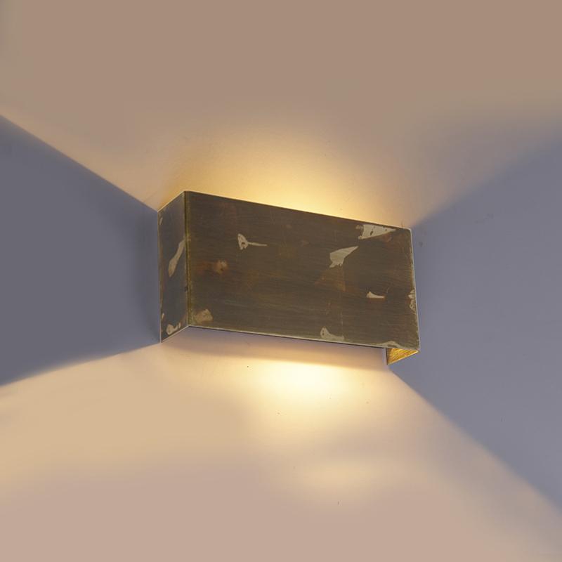 Industri�le wandlamp goud 2-lichts - Justin