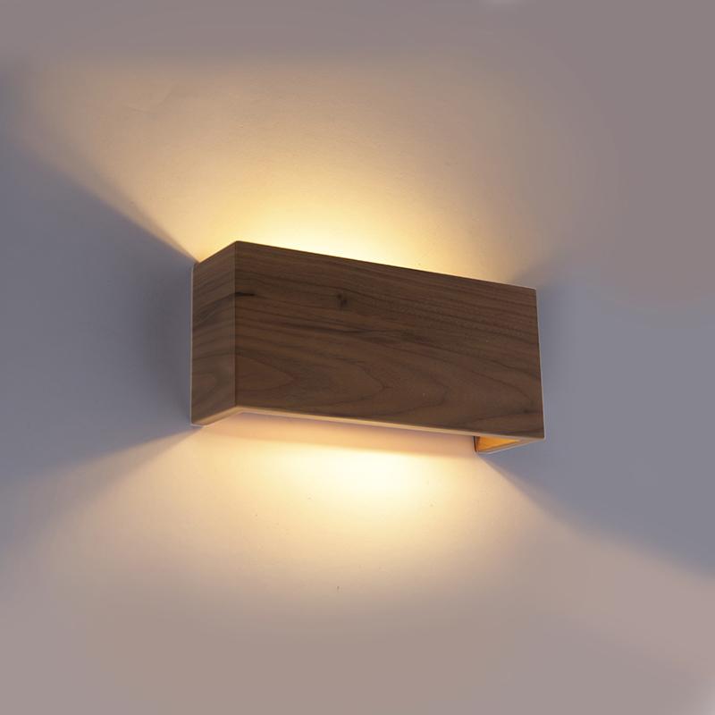 Wandlamp noten hout 2-lichts - Justin