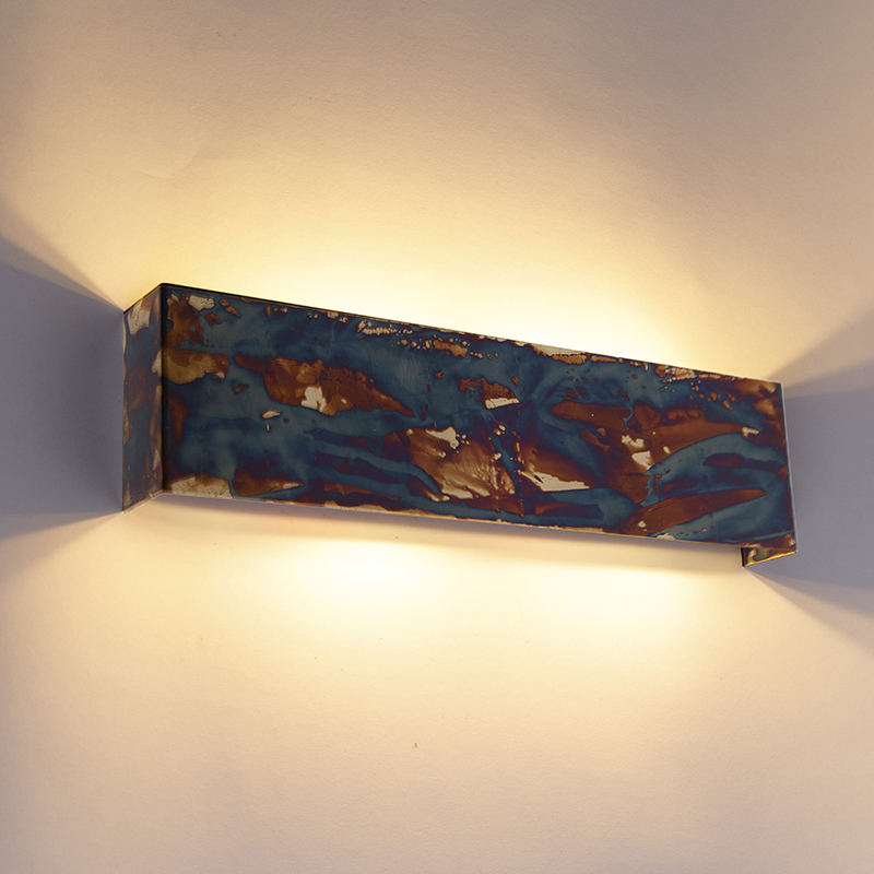 Industri�le wandlamp roest met blauw 4-lichts - Justin