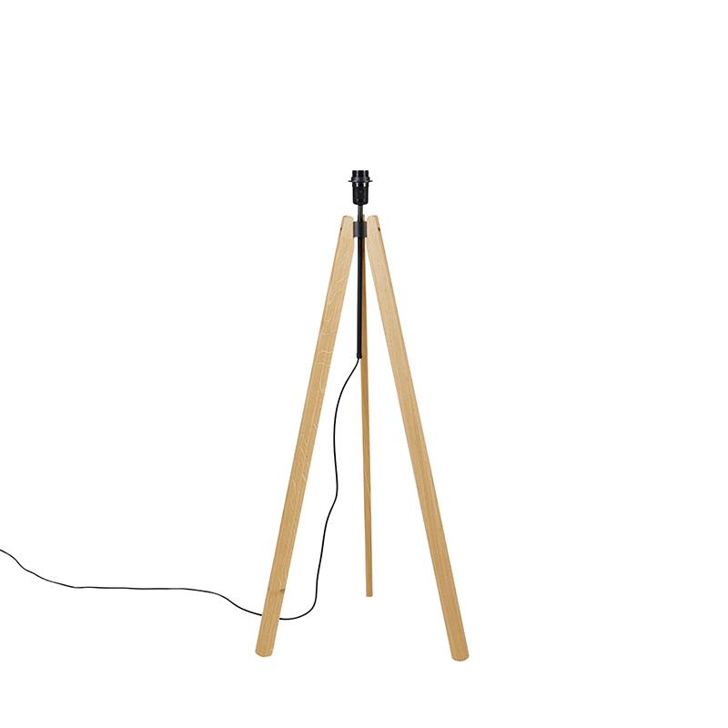 Landelijke vloerlamp tripod hout - telu