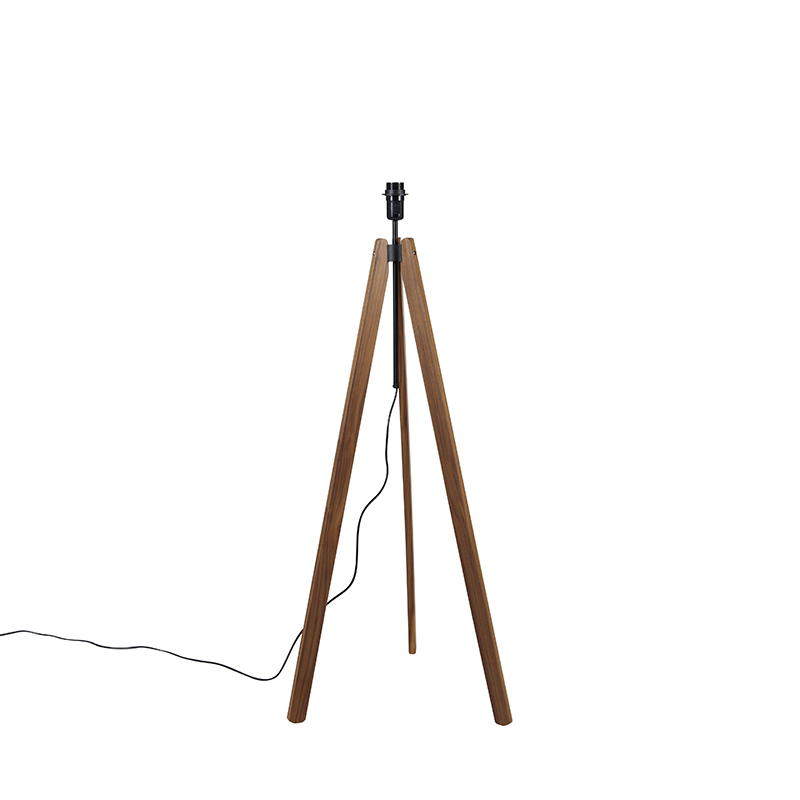 Landelijke vloerlamp tripod bruin - telu