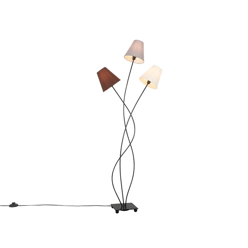 Design vloerlamp zwart met stoffen kappen 3-lichts - Melis