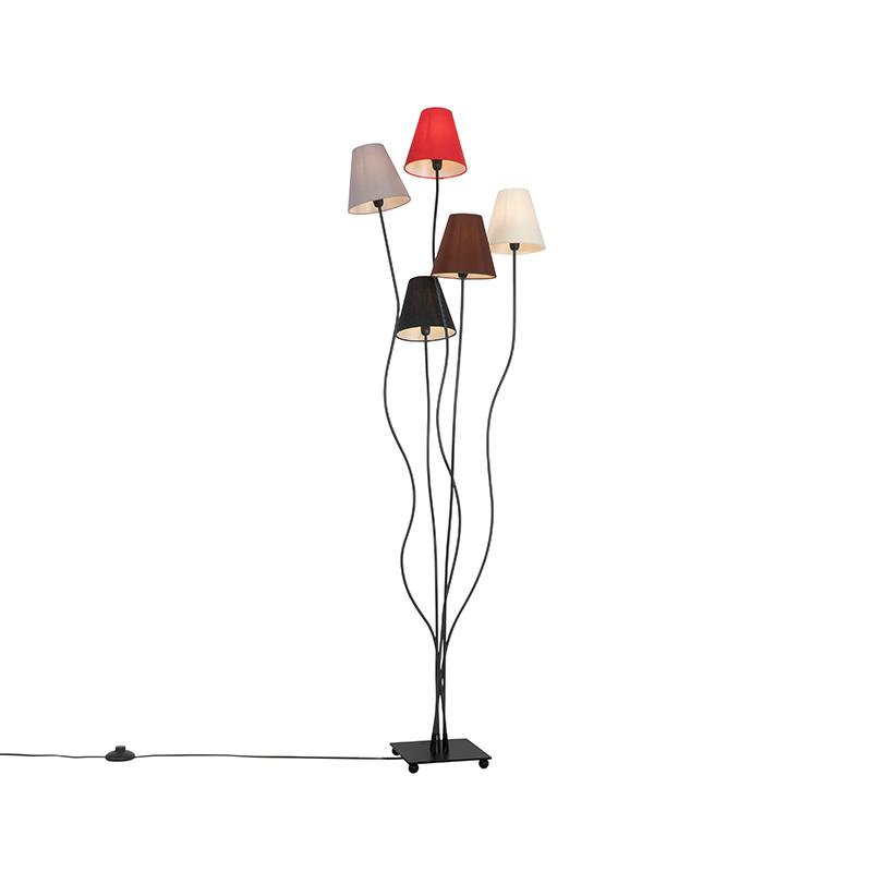 Design vloerlamp zwart met stoffen kappen 5-lichts - Melis