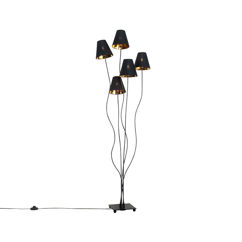 Dizajnová stojaca lampa čierna so zlatým 5-svetlom - Melis