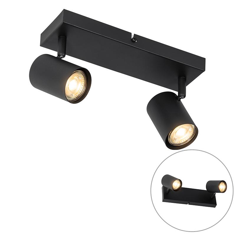 Moderne plafondlamp zwart 2-lichts verstelbaar - Jeana