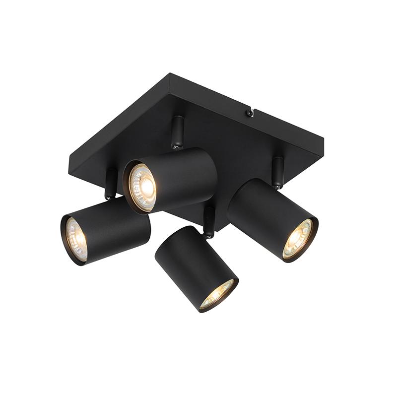 Moderne plafondlamp zwart 4-lichts verstelbaar - Jeana