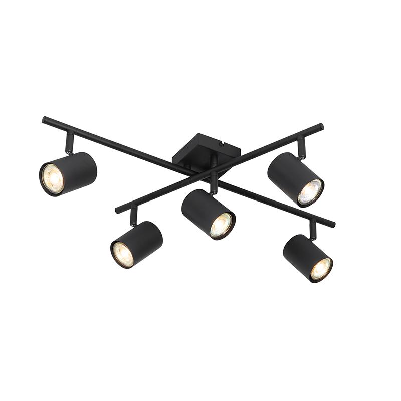 Moderne plafondlamp zwart 5-lichts verstelbaar - Jeana