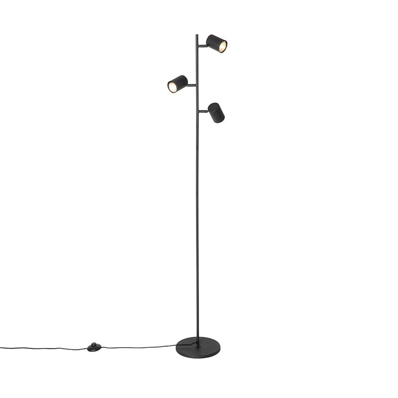 Moderne vloerlamp zwart 3-lichts - Jeana