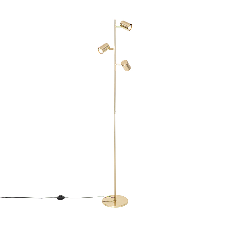 Moderne vloerlamp messing 3-lichts - Jeana
