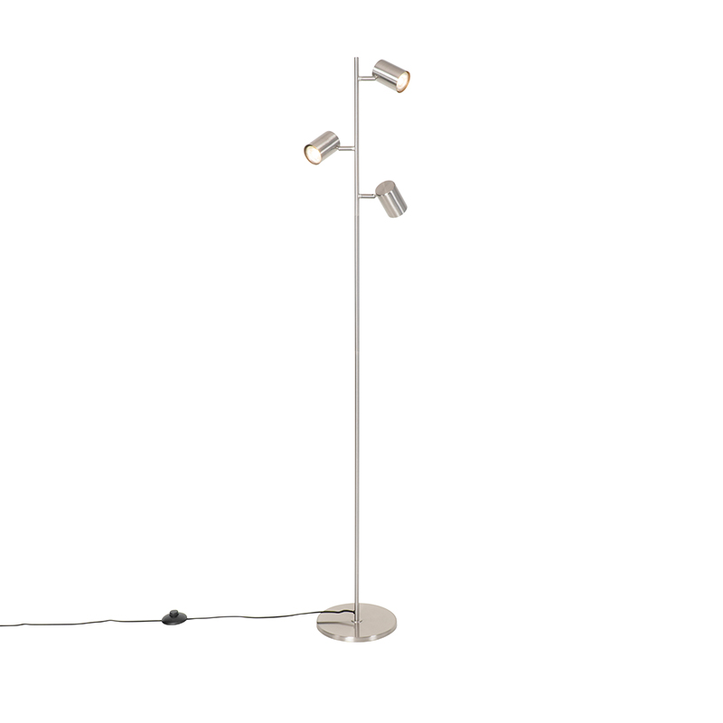 Moderne vloerlamp staal 3-lichts - Jeana