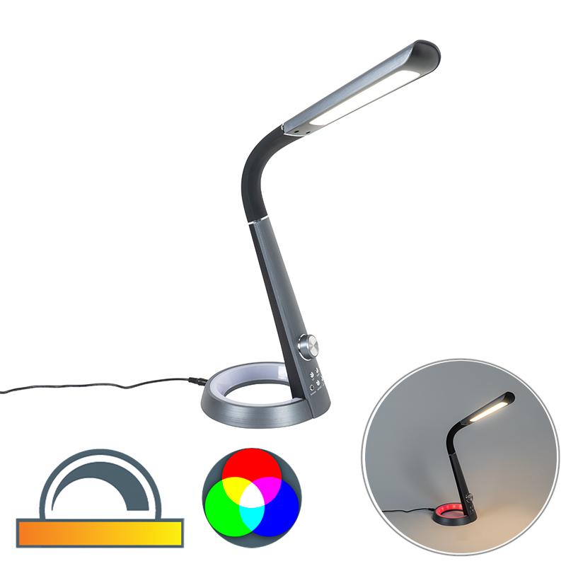 Design tafellamp zwart incl. LED met RGBW en USB - Manuel