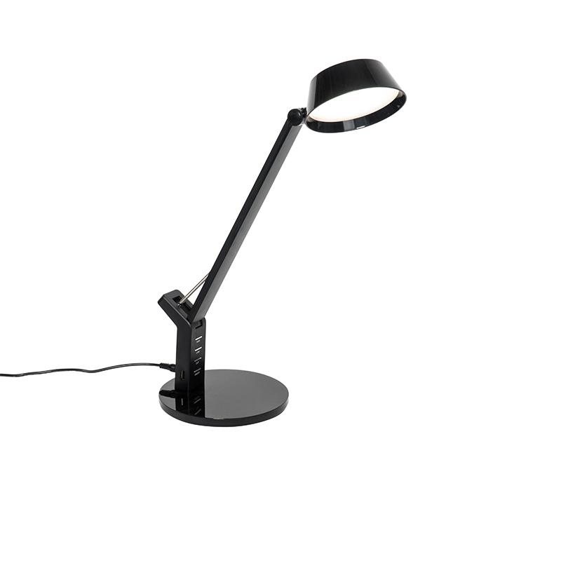 Design tafellamp zwart incl. LED met USB-aansluiting - Edward
