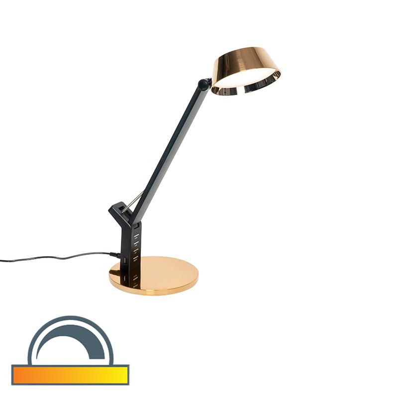 Design tafellamp goud incl. LED met USB 3000 - 6000K - Edward