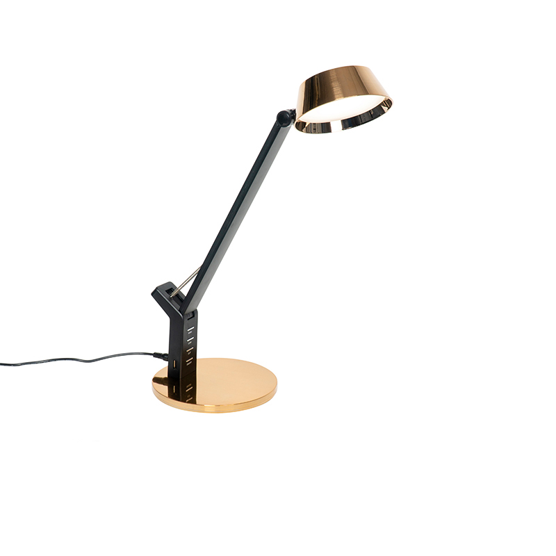 Tafellamp zwart met messing incl. LED met USB - Edward
