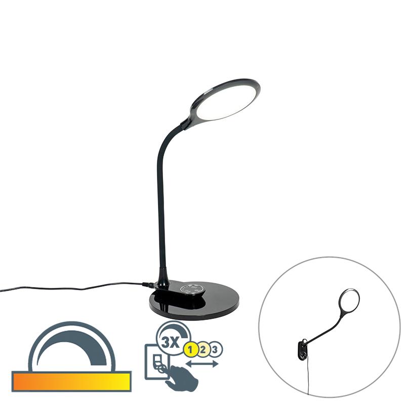 Tafel- en wandlamp zwart incl. LED met touch dimmer- Joni